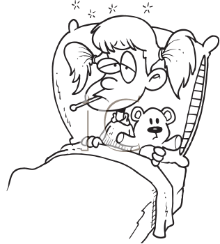 Royalty Free Clipart Image of a Sick Girl in Bed