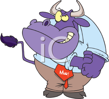 Royalty Free Clipart Image of a Bull Rolling Up Its Sleeves