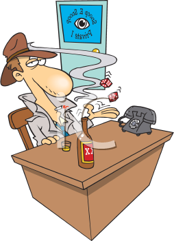 Royalty Free Clipart Image of a Detective at a Desk