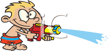 Royalty Free Clipart Image of a Boy With a Super Soaker