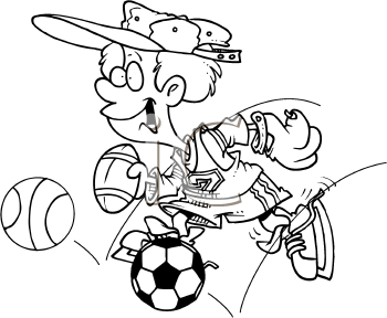 Royalty Free Clipart Image of a Sporty Boy
