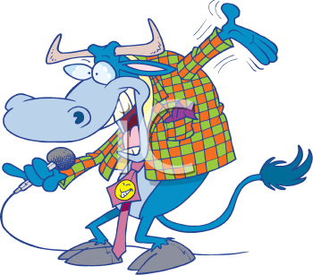 Royalty Free Clipart Image of a Cow With a Microphone