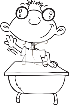 Royalty Free Clipart Image of a Student Raising His Hand