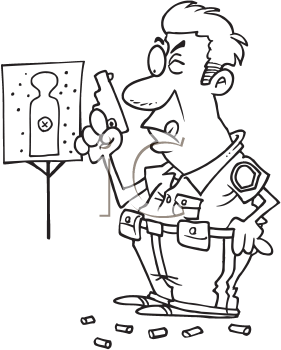 Royalty Free Clipart Image of a Cop at Target Practice