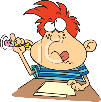 Royalty Free Clipart Image of a Boy With a Pencil in His Ear