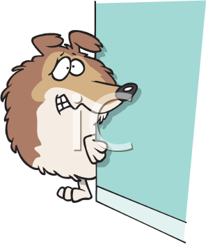 Royalty Free Clipart Image of a Timid Dog