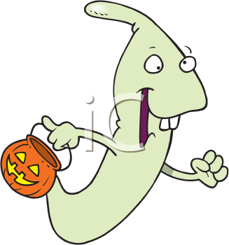 Royalty Free Clipart Image of a Trick-or-Treating Ghost