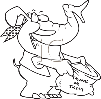 Royalty Free Clipart Image of an Elephant Trick-or-Treating