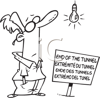 Royalty Free Clipart Image of a Man at the End of a Tunnel