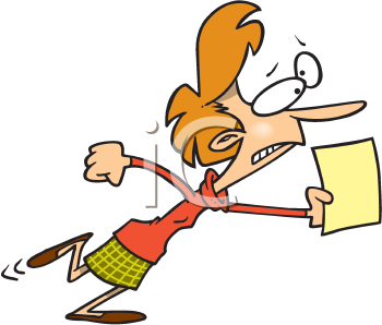 Royalty Free Clipart Image of a Woman Running With a Paper