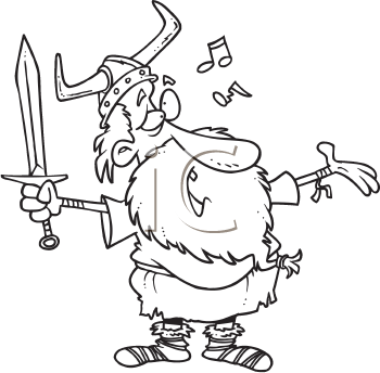 Royalty Free Clipart Image of a Viking Singing a Song