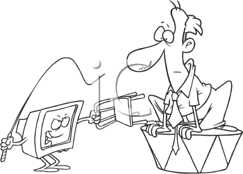 Royalty Free Clipart Image of a Computer With a Whip and a Man on a Stand