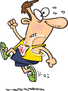 Royalty Free Clipart Image of a Runner Looking Behind