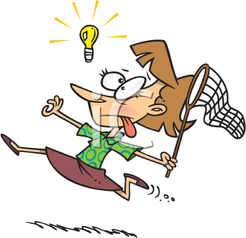 Royalty Free Clipart Image of a Woman Running Trying to Catch an Idea
