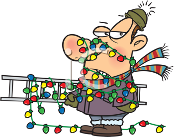 Royalty Free Clipart Image of a Man Tangled in Christmas Lights