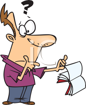 Royalty Free Clipart Image of a Man Holding a Page of an Open Book With a Question Mark Over His Head