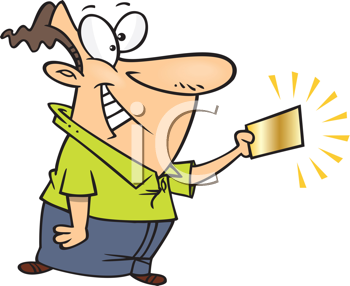 Royalty Free Clipart Image of a Golden Ticket