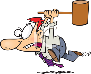 Royalty Free Clipart Image of a Man Running With a Hammer