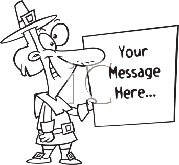 Royalty Free Clipart Image of a Pilgrim Holding a Sign