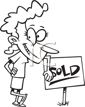 Royalty Free Clipart Image of a Woman Beside a Sold Sign