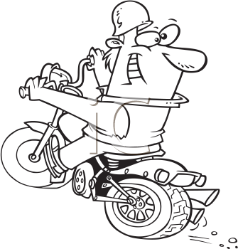 Royalty Free Clipart Image of a Man Riding a Motorcycle