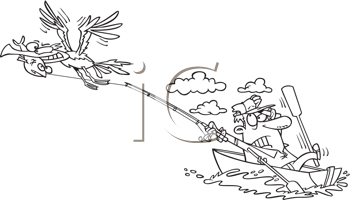 Royalty Free Clipart Image of a Gull Stealing a Fish and Dragging the Angler
