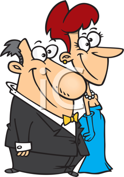 Royalty Free Clipart Image of a Dressed Up Man and Woman