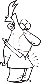 Royalty Free Clipart Image of a Guy With an Inner Glow in His Stomach
