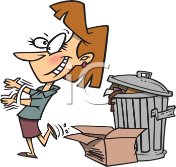 Royalty Free Clipart Image of a Woman Taking Out the Trash