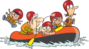 Royalty Free Clipart Image of a Family Rafting