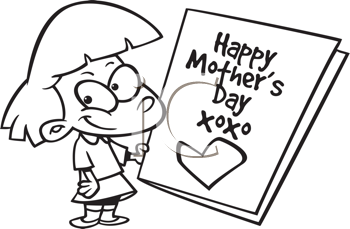 Royalty Free Clipart Image of a Girl With a Big Mother's Day Card