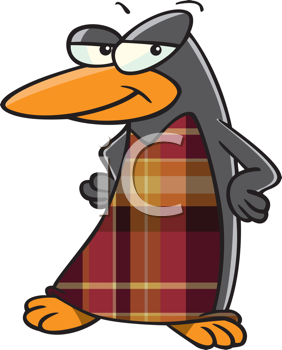 Royalty Free Clipart Image of a Penguin With a Tartan Front
