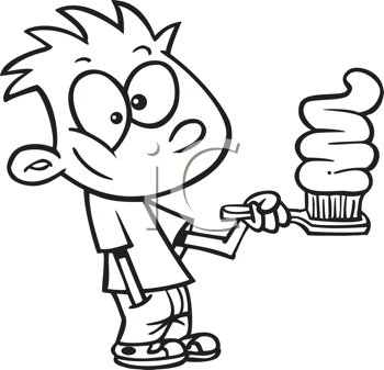 Royalty Free Clipart Image of a Kid With a Lot of Toothpaste on a Toothbrush