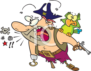 Royalty Free Clipart Image of a Talking Pirate With a Bird