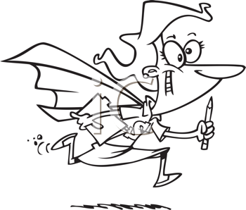 Royalty Free Clipart Image of a Woman in a Cape Running With a Pencil