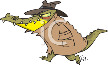 Royalty Free Clipart Image of a Crocodile in a Coat and Hat