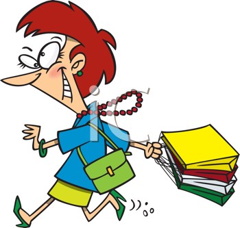 Royalty Free Clipart Image of a Shopping Woman in a Hurry