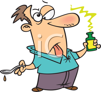 Royalty Free Clipart Image of a Man Taking Bad Medicine