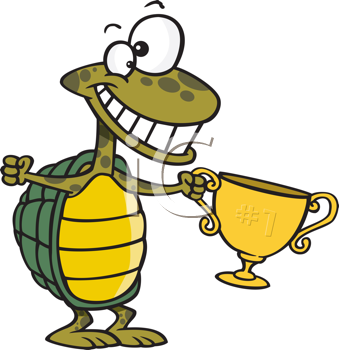 Royalty Free Clipart Image of a Turtle With a Trophy
