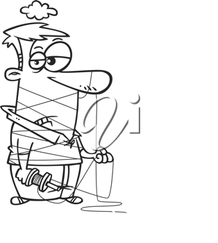 Royalty Free Clipart Image of a Man Wound Up in Kite String