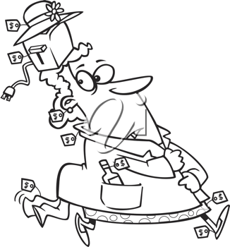 Royalty Free Clipart Image of a Shoplifter
