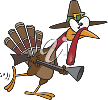 Royalty Free Clipart Image of a Turkey in a Pilgrim Hat With a Gun