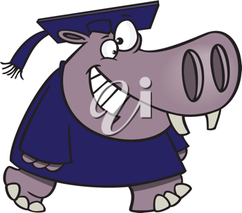Royalty Free Clipart Image of a Hippo Graduating
