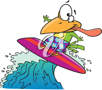 Royalty Free Clipart Image of a Surfing Bird