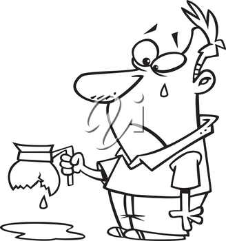 Royalty Free Clipart Image of a Sad Man With a Broken Coffee Pot