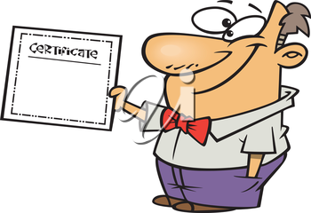 Royalty Free Clipart Image of a Man Handing out a Certificate