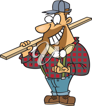 Royalty Free Clipart Image of a Lumberjack With a Dog