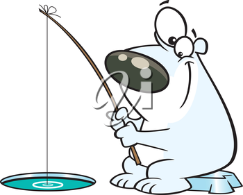 Royalty Free Clipart Image of a Bear Ice Fishing