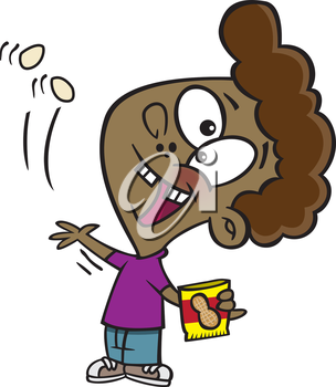 Royalty Free Clipart Image of a Boy Eating Peanuts