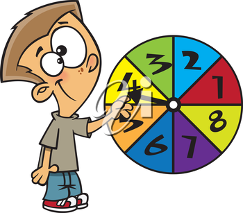 Royalty Free Clipart Image of a Boy Spinning a Number Wheel